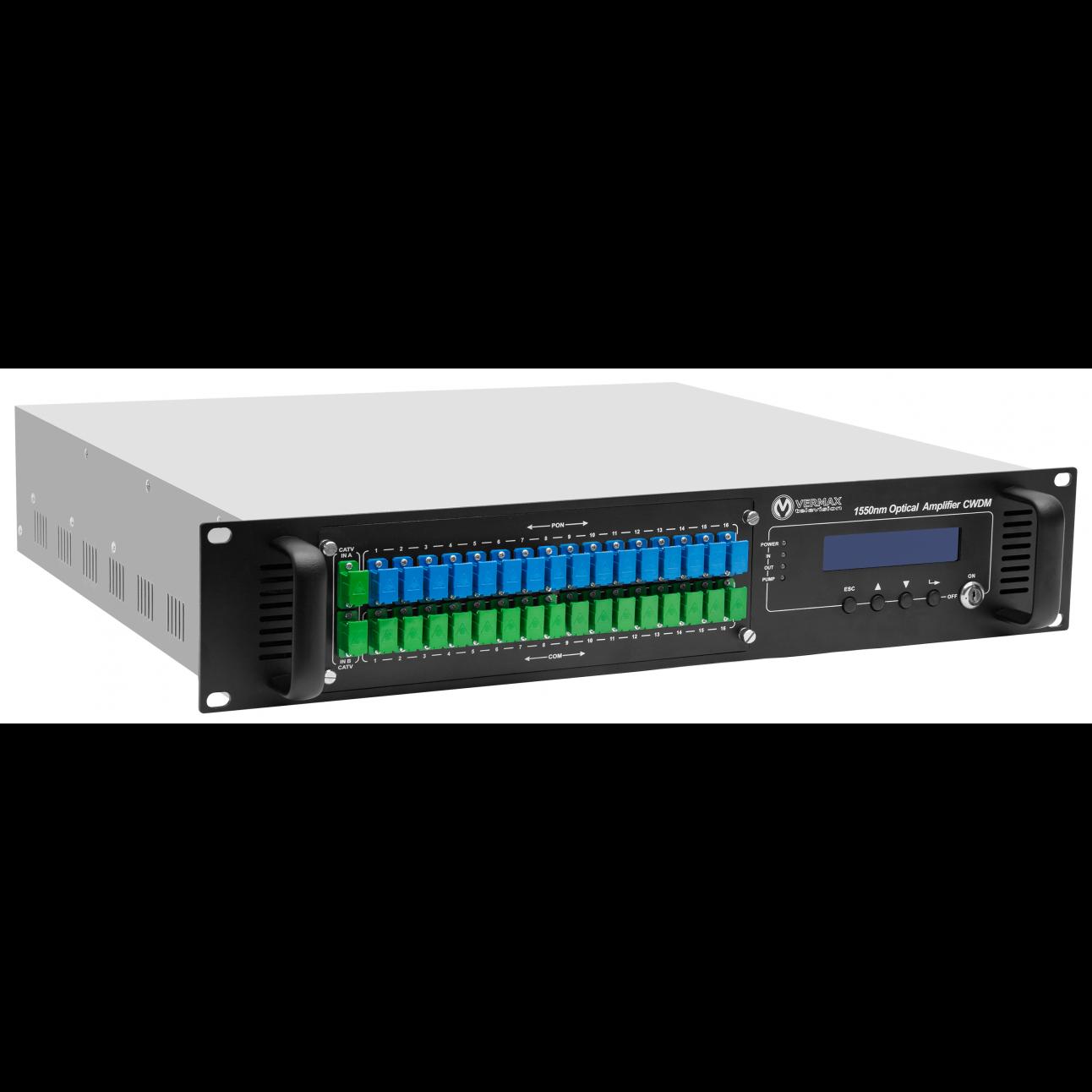 Оптический усилитель VERMAX для сетей КТВ, 2 входа, 32*18dBm выхода, WDM фильтр PON