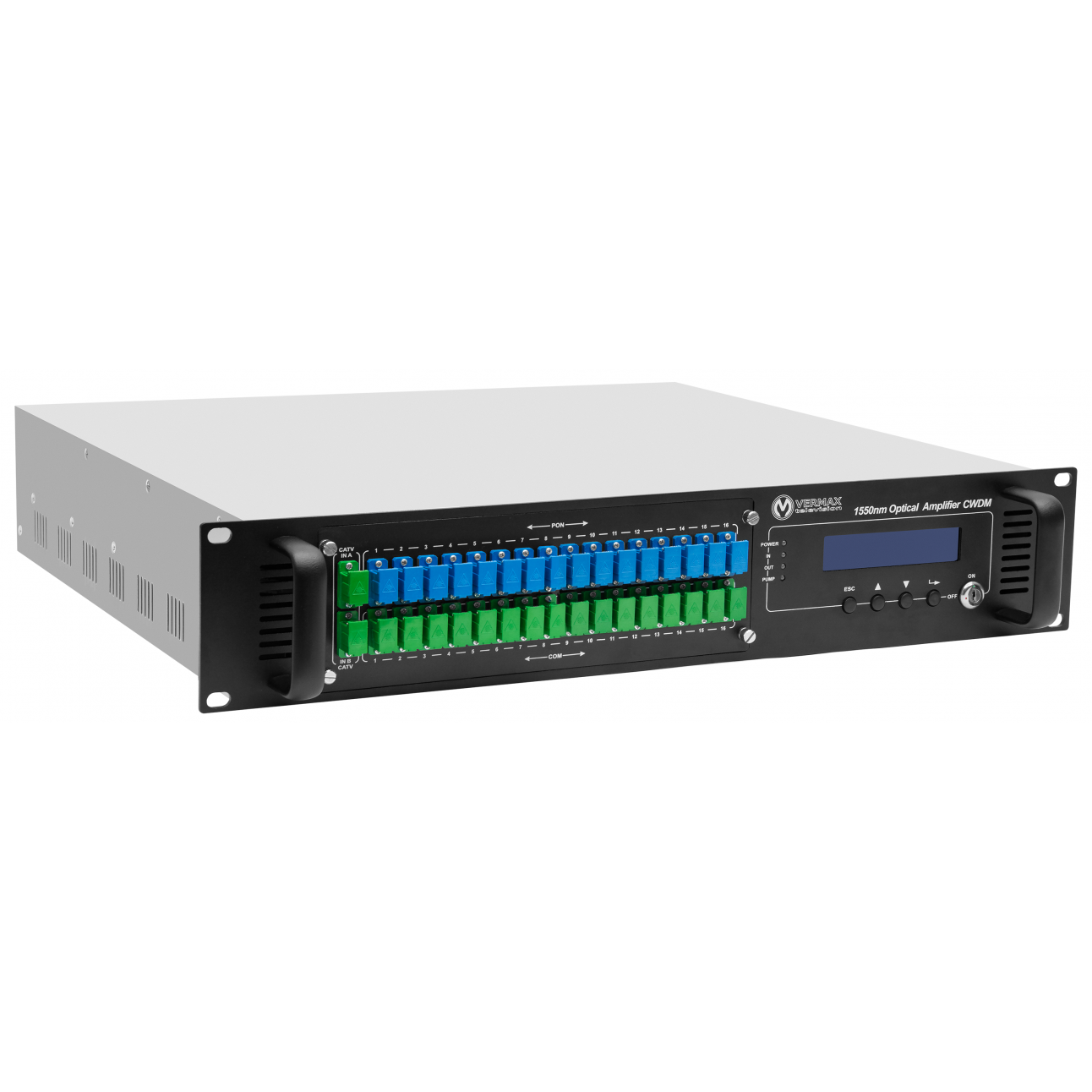 Оптический усилитель VERMAX для сетей КТВ, 2 входа, 32*20dBm выхода, WDM фильтр PON
