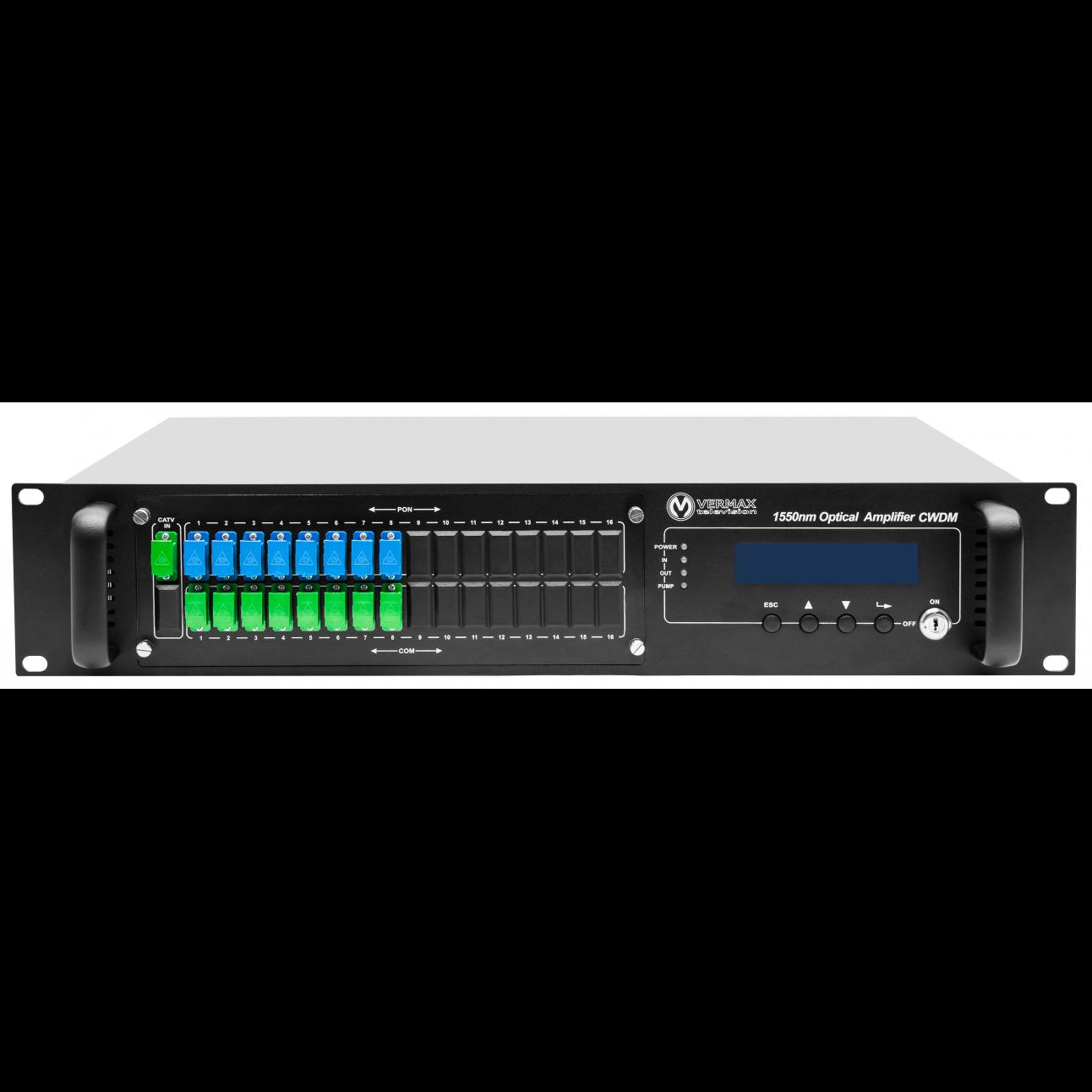 Оптический усилитель VERMAX для сетей КТВ, 8*16dBm, WDM фильтр PON