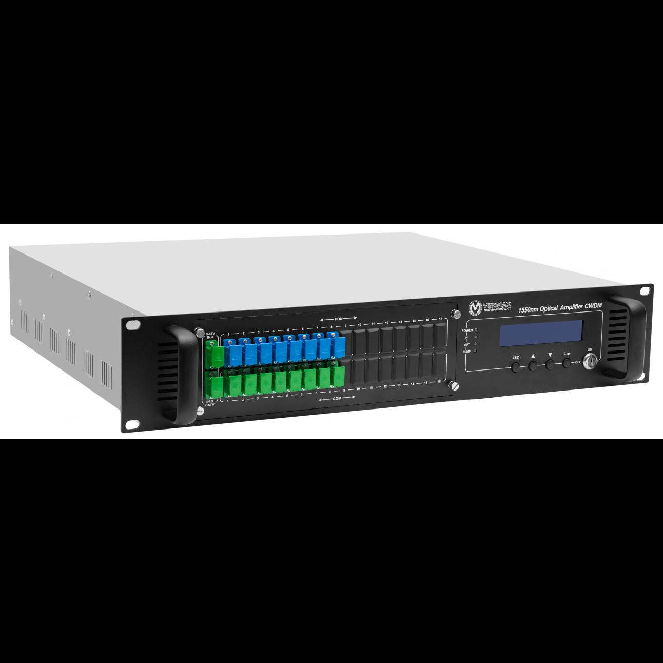 Оптический усилитель VERMAX для сетей КТВ, 2 входа, 8*17dBm выходов, WDM фильтр PON