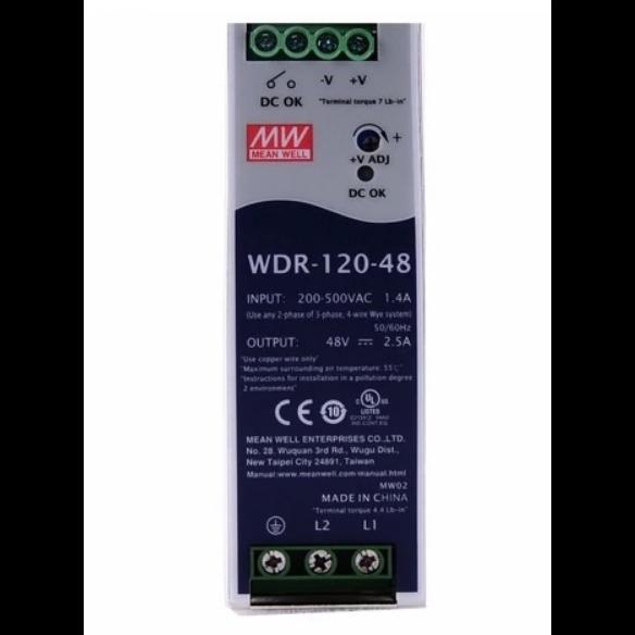 WDR-120-48 Блок питания на DIN-рейку, 48В, 2,5А, 120Вт Mean Well