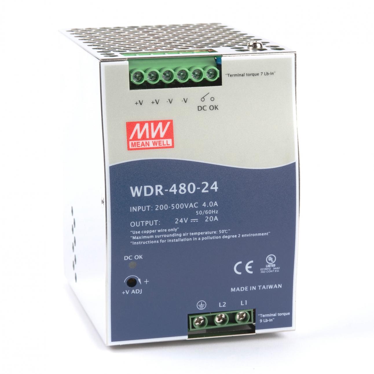 WDR-480-24 Блок питания на DIN-рейку, 24В, 20А, 480Вт Mean Well