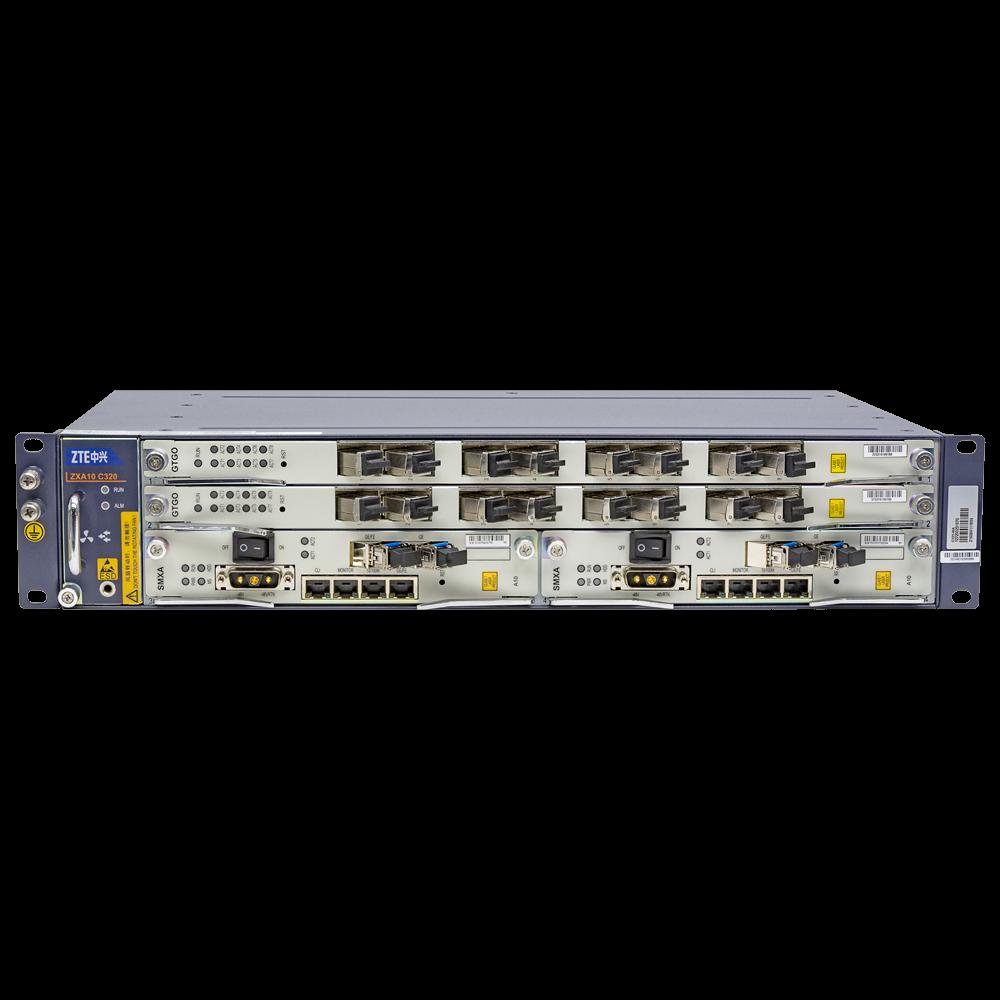 2RU шасси ZTE OLT GPON 10G, 2 слота для установки интерфейсных модулей, 8 GPON портов, DC